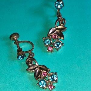 Vintage Clip on/Screw on Rhinestone earrings